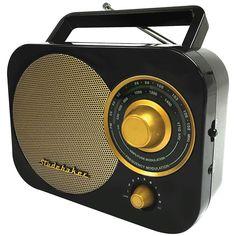 Black Retro Studebaker SB2000 Replica Portable AM/FM Radio with Aux Input