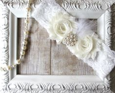 BRIDAL GARTER - Wedding Garter with Ivory Flowers on Comfortable Light Ivory Lace with Rhinestones, Pearls & Feathers, on Etsy, $10.56 CAD
