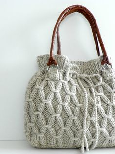 Knitted bag - Love this bag but would change the tie for a leather cording.