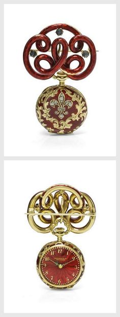 A YELLOW GOLD ENAMEL AND DIAMOND-SET OPEN-FACED KEYLESS WATCH WITH BROOCH NO 109441 CIRCA 1899.   Sotheby's