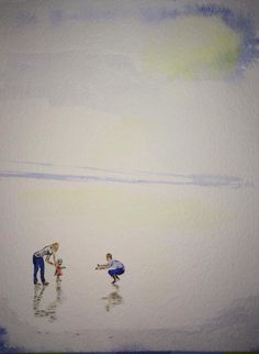 Beach baby watercolour.
