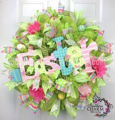 Deco Mesh EASTER Wreath Lime Green Eggs Door Wreath by www.southerncharmwreaths.com #decomesh #Easter #wreath