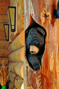 Bear Carving in New York Log Home Log Cabin Furniture, Rustic Furniture, Country Living Decor, Bear Decor, Welcome To My House, Log Home Decorating, Wooden Walking Sticks, Water House, Tree Carving