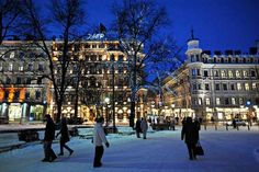 Helsinki Finland in winter.  Much prettier at night, very dreary during the day