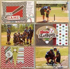 Divided Page Protector_Baseball_Die Cut_Scrapbook Page Baseball Scrapbook, Baby Scrapbook, Scrapbook Pages, Vacation Scrapbook, School Scrapbook, Scrapbook Layout Sketches, Scrapbooking Layouts, Home Run Baseball, Project Life Layouts