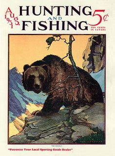 Art from: Hunting and Fishing Grizzly bear, standing on a rocky ledge in the mountains, turns his head left to look at you. Artist: Philip B., son of the artist Restoration by: magscanner Hunting Magazines, Fishing Magazines, Magazine Art, Magazine Covers, Outdoor Magazine, Hunting Art, Magazine Pictures, Deer Art, Le Far West
