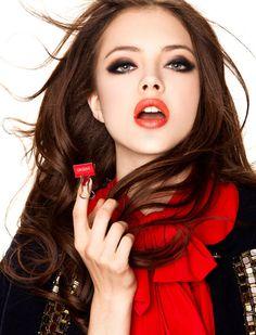 love dark auburn/brunette hair with fair skin and bright lips!