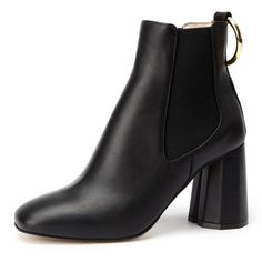 [suecommabonnie] Gold ring Chelsea boots(black) > 앵클부츠 > FEMALE... ❤ liked on Polyvore featuring shoes, boots, black shoes, black gold shoes, black chelsea boots, gold shoes and black gold boots