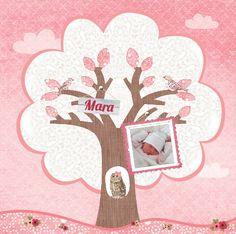 Geboortekaartje Mara www.hetuilennestje.nl Boom, uil, roze, foto, bloemen.