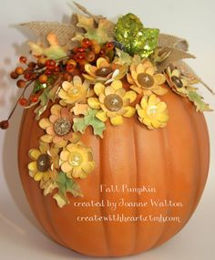 I love creating autumn crafts, all of the flowers and leaves were created with my Art Philosophy and Artiste cricut cartridges!  They were colored and tinted with my Close to My Heart pigment pads.