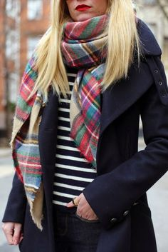 Loving the plaid blanket scarf Right Now - BrightonTheDay
