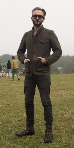 barbourpeople: Jamie Davies was spotted at Bestival looking super cool in this Barbour Commander Jacket.