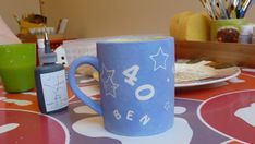 The mug I painted for Ben's birthday. This is it ready to be fired. Shetland Wool, Fair Isle Knitting, 40th Birthday, Stitch Patterns, Give It To Me, Mugs, 40 Birthday, Mug, Fortieth Birthday