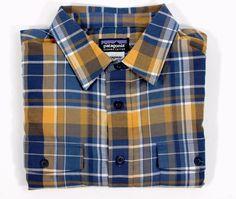 PATAGONIA Mens Organic Cotton BUCKSHOT Blue Orange Yellow Plaid Flannel SHIRT M #Patagonia #ButtonFront