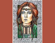 Medieval beauty  Original drawing with huge amount of details