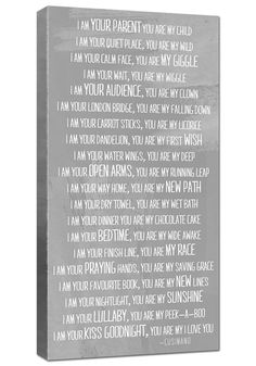 I am your parent you are my child poem with by Geezees Custom Canvas