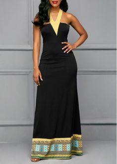 Printed Sleeveless Halter Black Maxi Dress | Rosewe.com - USD $30.15