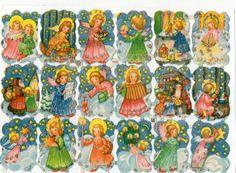 Vintage Die Cut Paper Scraps Glanzbilder EAS 3131 Christmas Angels Glitter   eBay
