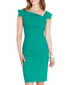 Jade asymmetric collar dress by Goddiva on secretsales.com