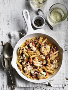 Penne with lobster and prosciutto