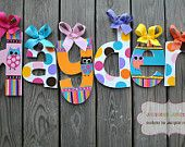 Handpainted and Personalized Letters - FUNKY OWL Handpainted Letter (set) - Name and Word Letters - M2M Zutano Owl Brights Bedding Set