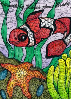 ACEO Original Clown Fish Star Fish Zentangle Fantasy Marine Undersea Kelp Art | eBay