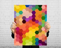 Geometric Art Print - Honeycomb Hexagon Pattern - Colorful Modern Home Decor - Geometry Poster - Colorful Geometric Decor - SKU: Diy Wall Art, Diy Art, Wall Decor, Painting Inspiration, Design Inspiration, Paint Chip Art, Paint Chips, Hexagon Pattern, Honeycomb Pattern
