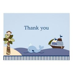 Ahoy Mate Whale Sailboat Flat Thank You Note Cards Personalized Announcements.  $2.15