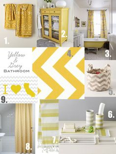 Grey and Yellow Bathroom Inspiration...since the previous owner already has the bathroom painted grey I figured I would run with this idea cause I hate painting! Lovin it!