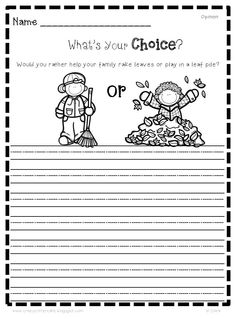 Free writing activities for fall / Thanksgiving- writing centers