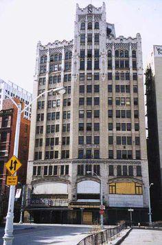 The south facade of the Metropolitan in Abandoned Metropolitan Building, Detroit MI Detroit Ruins, Abandoned Detroit, Abandoned Churches, Abandoned Places, Detroit History, Detroit Michigan, Haunted Places, Old Buildings, Portrait Photography