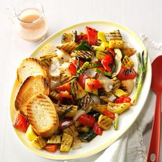 Grilled Veggies with Mustard Vinaigrette Recipe -I make this healthy and inviting side dish whenever friends come over for a cookout. The honeyed vinaigrette lets the veggies shine. Grilled Vegetable Recipes, Grilled Vegetables, Grilling Recipes, Mustard Vinaigrette Recipe, Applebees Recipes, Healthy Zucchini, Recipe Zucchini, Grilling Sides, Fire Food