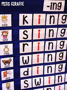 Spelling words with the -ing sound in a pocket chart center and other fun phonics ideas