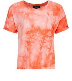 Teens Coral Tie Dye Roll Sleeve Crop Top