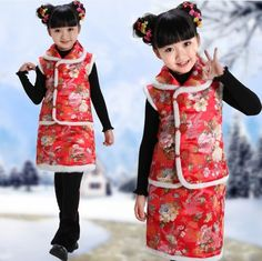 Warm Chinese New Year costumes for your girls! **Contact me to buy. Cheongsam, Hanfu, Traditional Chinese, Chinese New Year, Your Girl, Harajuku, Warm, Costumes, Girls