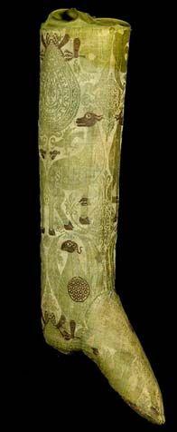 Silk Brocade Hose - Belonged to Archbishop of Bayonne - Museum Clunny, Paris, France - 14th century