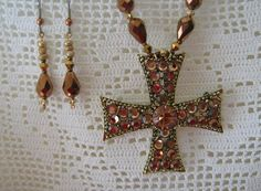 Vintage Weiss Rhinestone Maltese Cross Beaded Necklace with Matching Earrings by AtticWit, $35.00