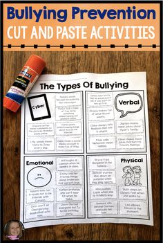 Bullying activities elementary - Bullying Cut and Paste Activities For Bullying Prevention Lessons – Bullying activities elementary Anti Bullying Activities, Bullying Lessons, Social Skills Activities, Counseling Activities, Career Counseling, Camping Activities, Teaching Resources, Elementary School Counseling, Elementary Schools