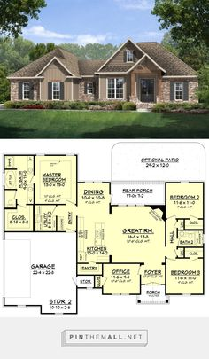 Craftsman Style House Plan - 3 Beds 2 Baths 1769 Sq/Ft Plan #430-99 - created via https://pinthemall.net .. I like the look but if change a little bit on the floor plan