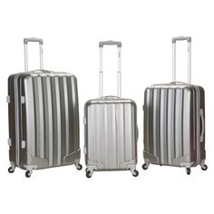 Rockland Metallic 3pc ABS Spinner Luggage Set : Target