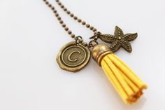 Starfish Charm Necklace, Long Tassel Necklace, Beach Jewelry, Wax Seal Initial Necklace, Brass Bronze ball chain, long boho necklace by outoftheblue on Etsy