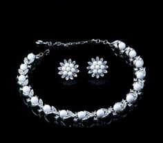 1950s Lisner Signed Sparkly Necklace & Earring Set by SwankyDame, $85.00