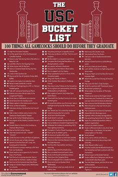 University of South Carolina Bucket List