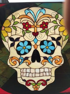 Day of the Dead Skull Stained Glass window Panel  - StainedGlassWindows.com