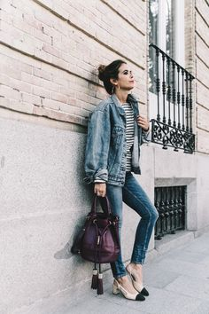 Double_Denim-Levis_Vintage-Skinny_Jeans-Striped_Top-See_By_Chloe_Bag-Chanel_Shoes