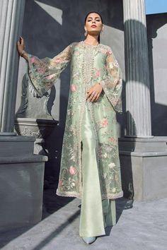 Mint Green Floral Beaded Long Jacket with Silk Inner & Boot Cut Pants, Elan Inspired Hand Embroidered Dress - Pakistani dresses Pakistani Dress Design, Pakistani Outfits, Indian Outfits, Pakistani Bridal, Pakistani Frocks, Eid Outfits, Indian Anarkali, Pakistani Couture, Stylish Dress Designs