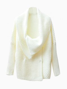 Oversize Collar Cardigan in White - Choies.com