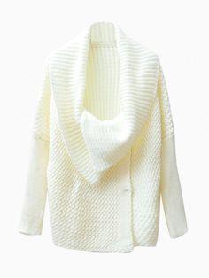 Oversize Collar Cardigan in White - Choies.com