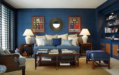 Living room colors inspired by the ocean 20 Living Rooms with the Textural Beauty of Grasscloth