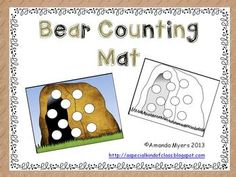 Roll a dice and cover the dots with bear counting.  The first one to fill their cave wins.  Works on numbers to 10.Includes black and white version.  Write words, numbers or letters on the circles and use bingo dabbers.